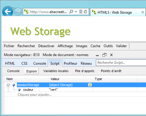 IE10 Web Storage Console
