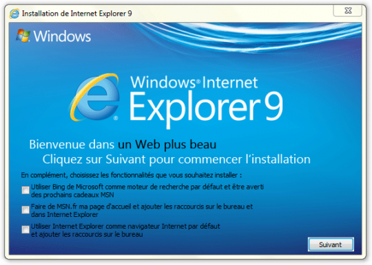 Installation IE9