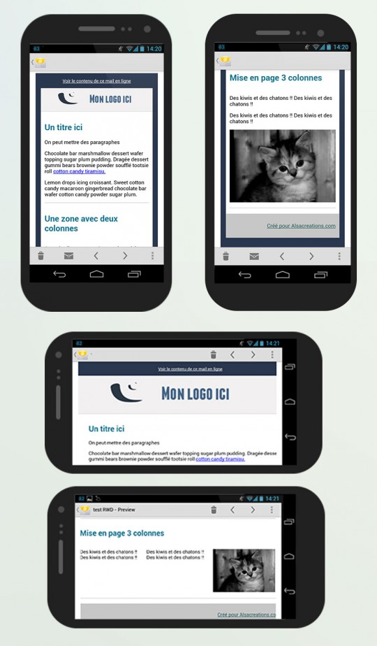 Screenshots de la template repsonsive sur Android ICS