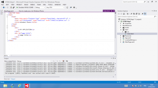 Windows Phone SDK Emulator HTML