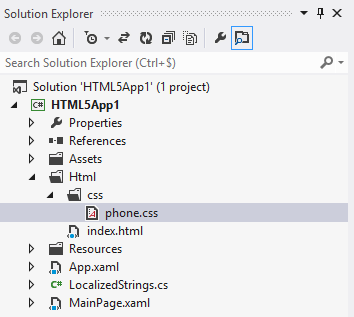 Windows Phone SDK Solution Explorer