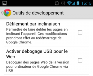 Chrome Android Outils développement