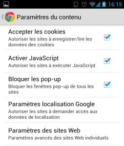 Chrome Android paramètres