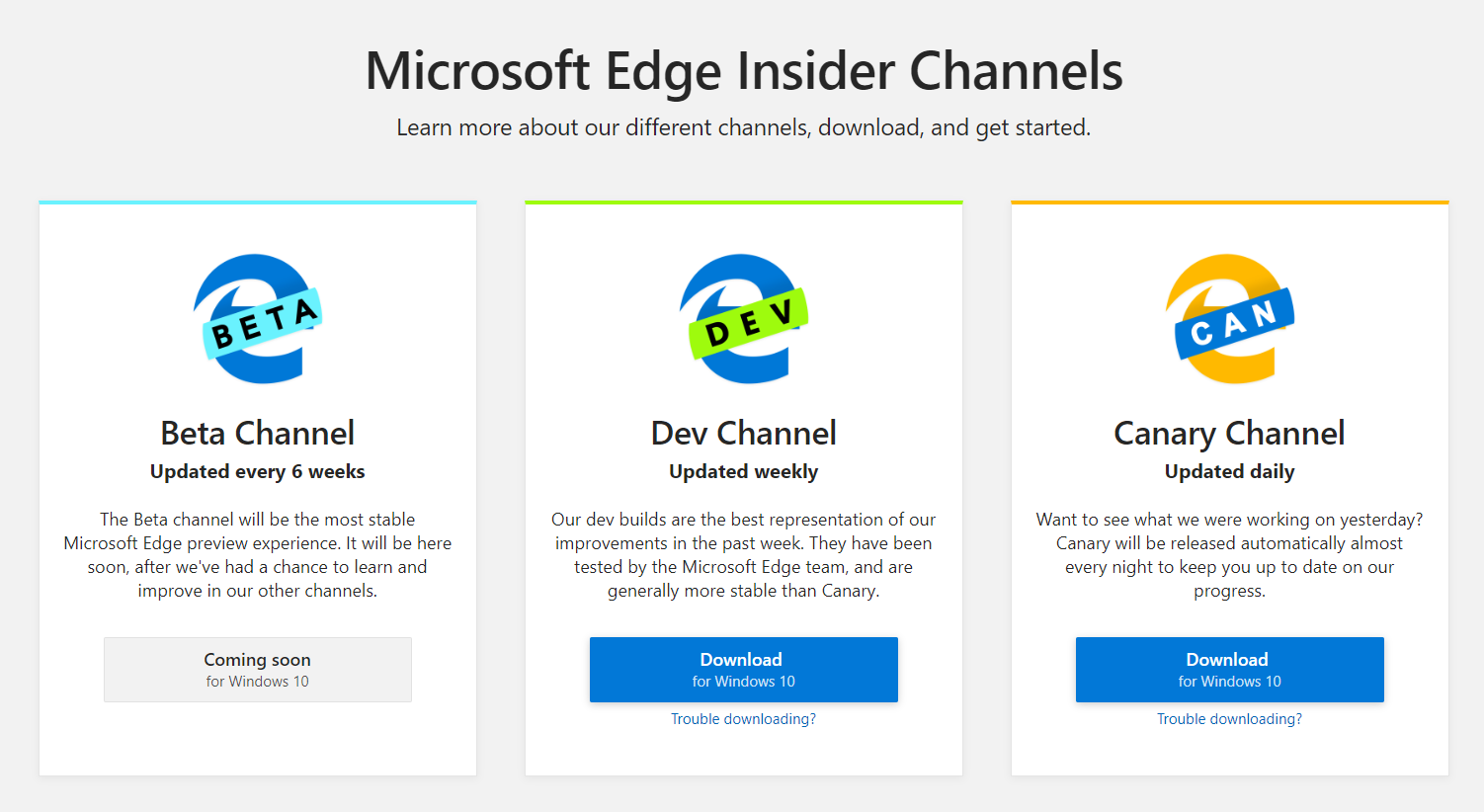 Microsoft Edge insider channels