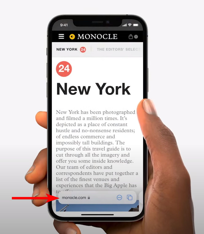 Navigation sur Safari mobile