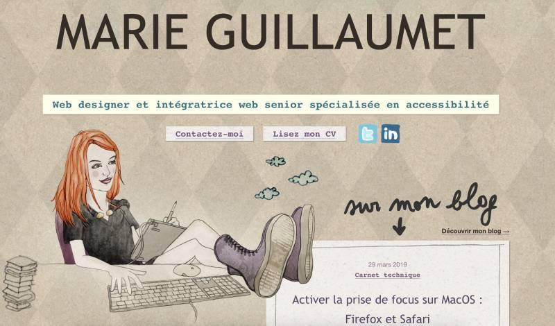 Le site web marieguillaumet.com