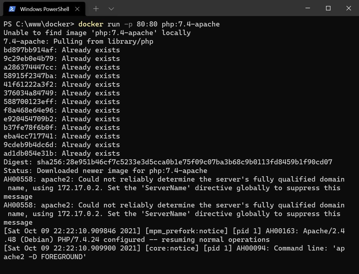 Capture d'écran Docker : run apache