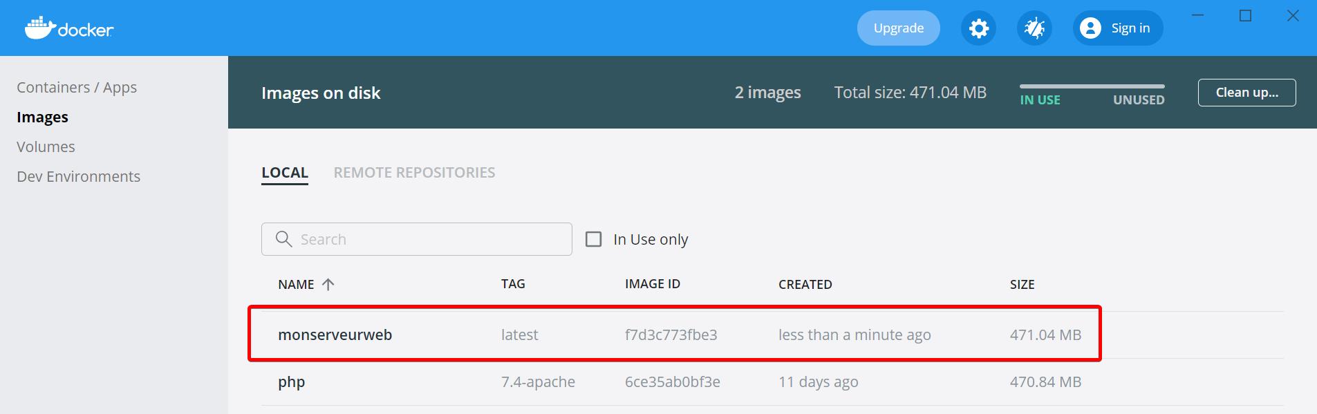 Capture d'écran Docker liste des images