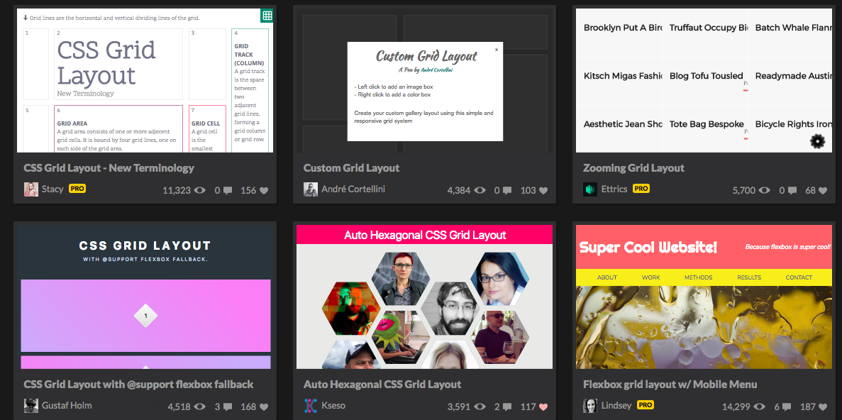 codepen grid layout