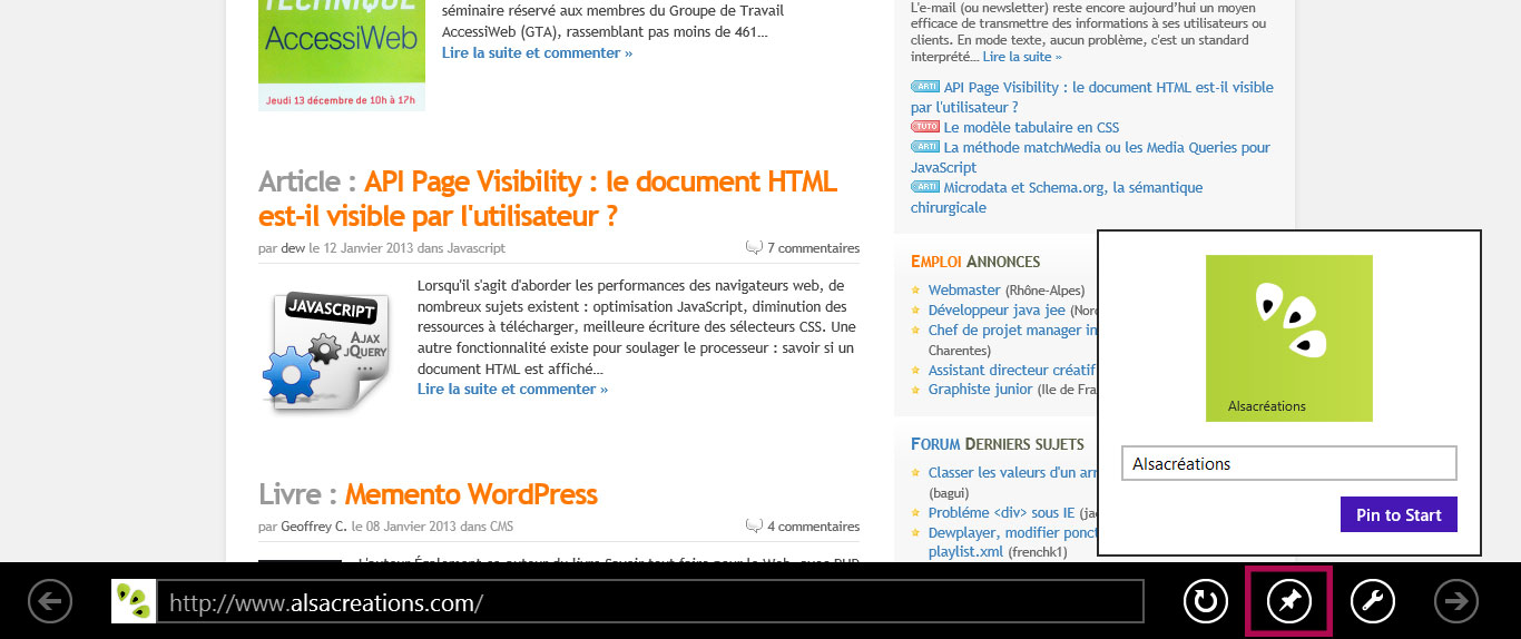 Épingler la tuile sur l'interface Windows 8