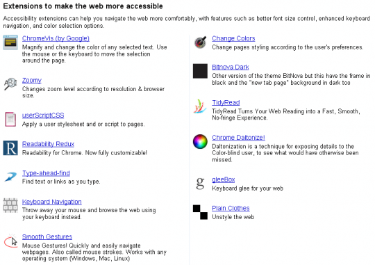 Chrome Extensions Accessibility