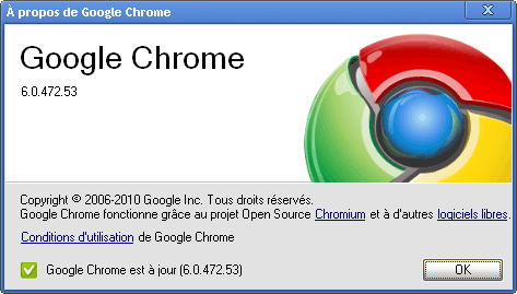 Google Chrome 6 A propos