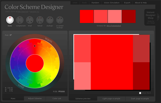 capture de color scheme designer - Simulateur Coloration