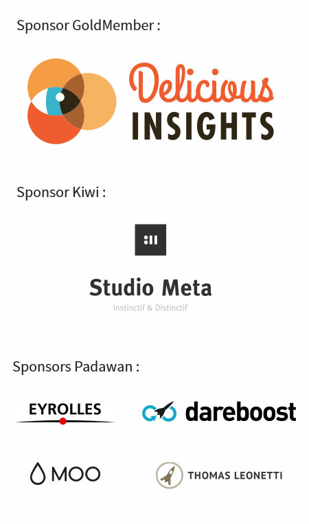 Sponsors KiwiParty 2016 : Sposor GoldMember : Delicious Insights, Sponsor Kiwi : Studio Meta, Sponso