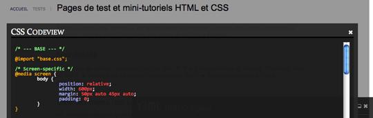 Aperçu de l'affichage d'un fichier CSS avec YAML Debug