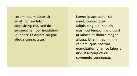 Schéma de 2 colonnes de même hauteur de quantités de contenu différentes